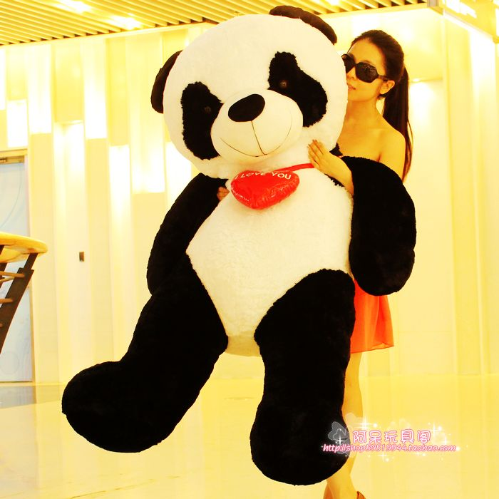 huge Plush panda toy heart panda doll lovely panda doll birthday day gift about 160cm