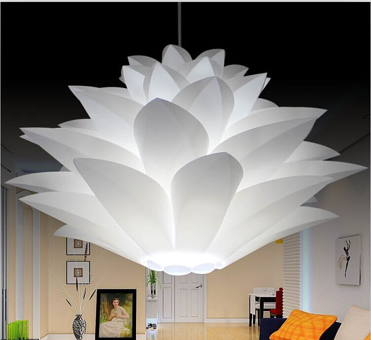 Lily flower pendant light material of pvc 354455cm lotus shape lily flower pendant light material of pvc 354455cm lotus shape fixture pendent diy lampshade bedroom shops led hanging lamp in pendant lights from aloadofball Image collections