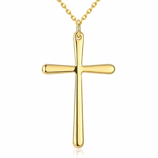 Cross Charms Pendant Necklace Gold Color Fashion Jewelry 18inch Chain Necklace High Quality Free Antiallergic Lady Girls Gift