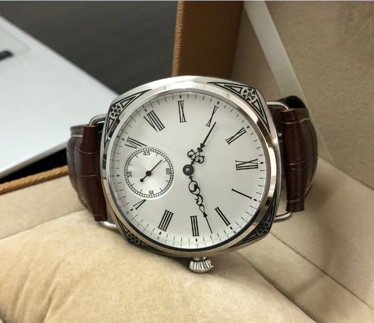 47mm GEERVO Aziatische 6498 17 juwelen Mechanische Hand Wind beweging carving decoratief patroon case Mechanisch horloge gr229 g8-in Mechanische Horloges van Horloges op  Groep 3