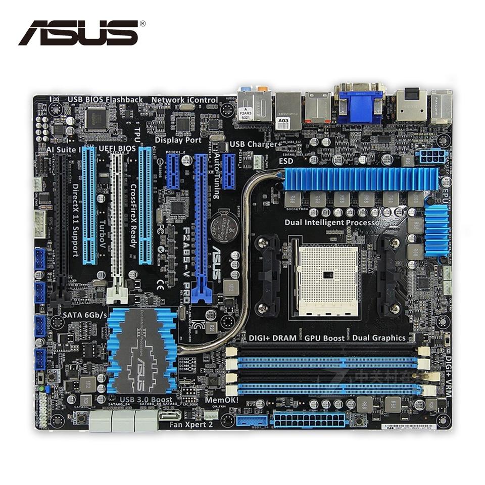 Asus F2A85-V PRO Desktop Motherboard A85X Socket FM2 DDR3 64G SATA3 USB3.0 ATX Second-hand High Quality asus p10s v 4l atx