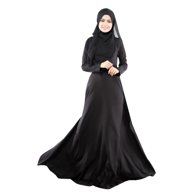 New Kaftan Abaya Dress Muslim Islam Women Jilbab Long Sleeve Maxi Dress  Solid Color PY3 L4 8a0e89aef4c8