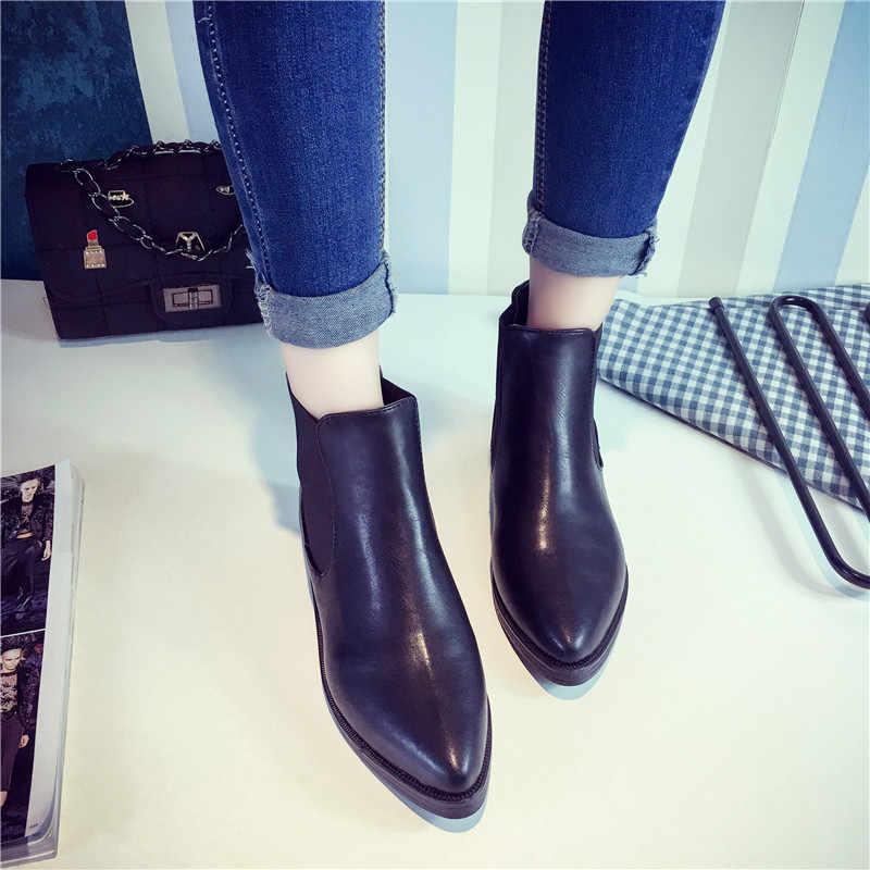 COOTELILI Marka Artı Boyutu 40 Kadın yarım çizmeler Düz Topuklu rahat ayakkabılar Kadın Patent Deri Çizmeler Kızlar Için Siyah Motosiklet