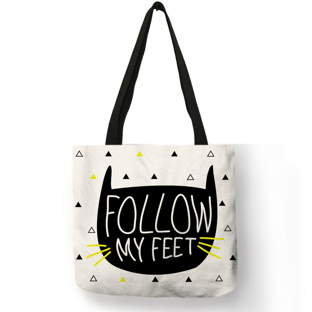 Eco Reusable Shopping Bag Cute Kitty Cat Meow Print Tote Bags For Women  Traveling Beach Linen Bags With Logo 973b6a28f6