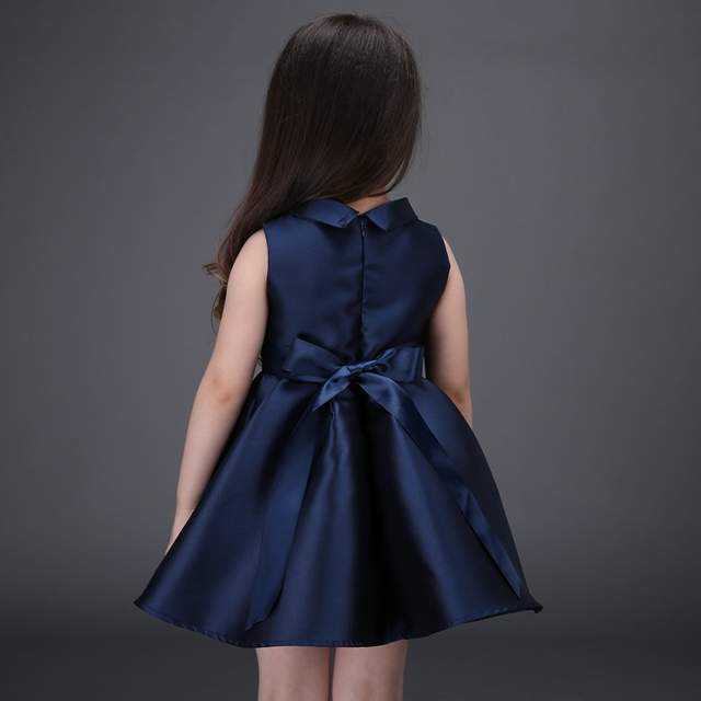 Online Shop Embroidered Flower Girls Dress Cotton Princess Navy Blue Casual  Ball Gown for Kids Clothes vestidos infantis size 100-160  7be8568fa5b6