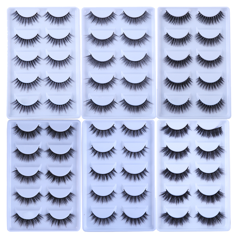 MB 5 Pairs Mink Eyelashes 2019 New 3D Mink Lashes Thick HandMade Full Strip Fake Lashes Make Up Eye Lashe False Eyelashes Makeup