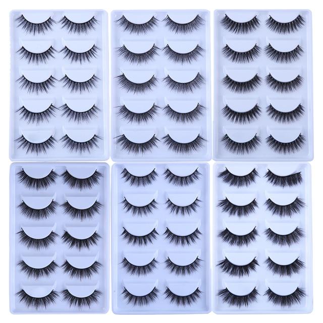 MB 5 Pairs Mink Eyelashes 3D faux cils natural Thick HandMade Full Strip Fake Lashes Make up Eye lashe False Eye lashes Makeup