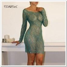 Sexy Party Mesh Short Mini Transparent Dress See Through Women Long Sleeve Sequined Slim Shiny Dress Erotic Nightclub Clothing