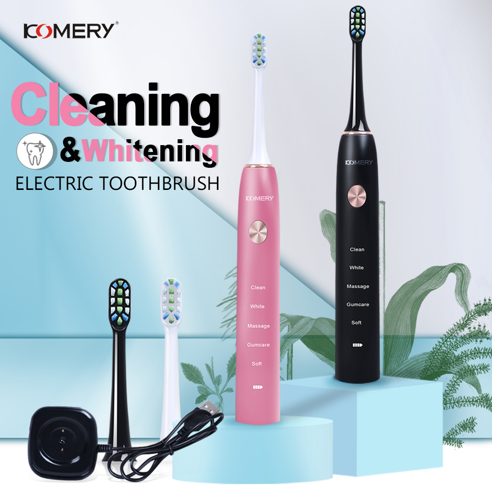 KOMERY Ultrasonic Sonic Electric Toothbrush For Adults Magnetic Charging Waterproof IPX7 50,000 R/min 4 Pcs DuPont Replacement