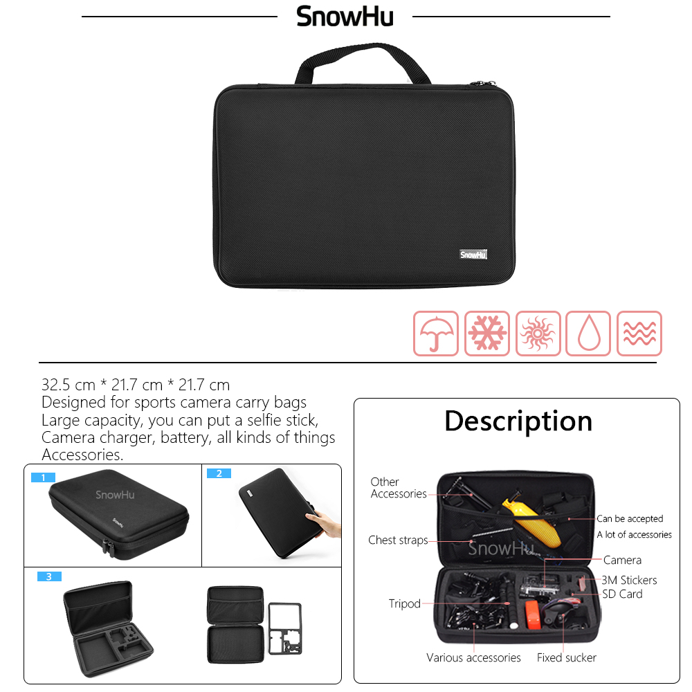 SnowHu For Gopro accessories set Gopro hero 4 3 3 waterproof protective case chest mount Monopod for go pro hero 4 3 3 GS60 in Sports Camcorder Cases from Consumer Electronics
