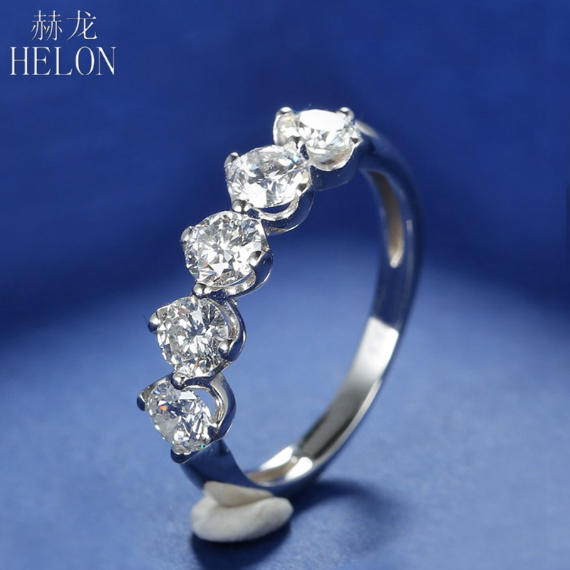 HELON Moissanite Ring 925 Sterling Silver 1.5CT G-H Color Engagement Ring Test Positive Moissanite Band For Women Trendy Jewelry helon solid 18k 750 rose gold 0 1ct f color lab grown moissanite diamond bracelet test positive for women trendy style jewelry