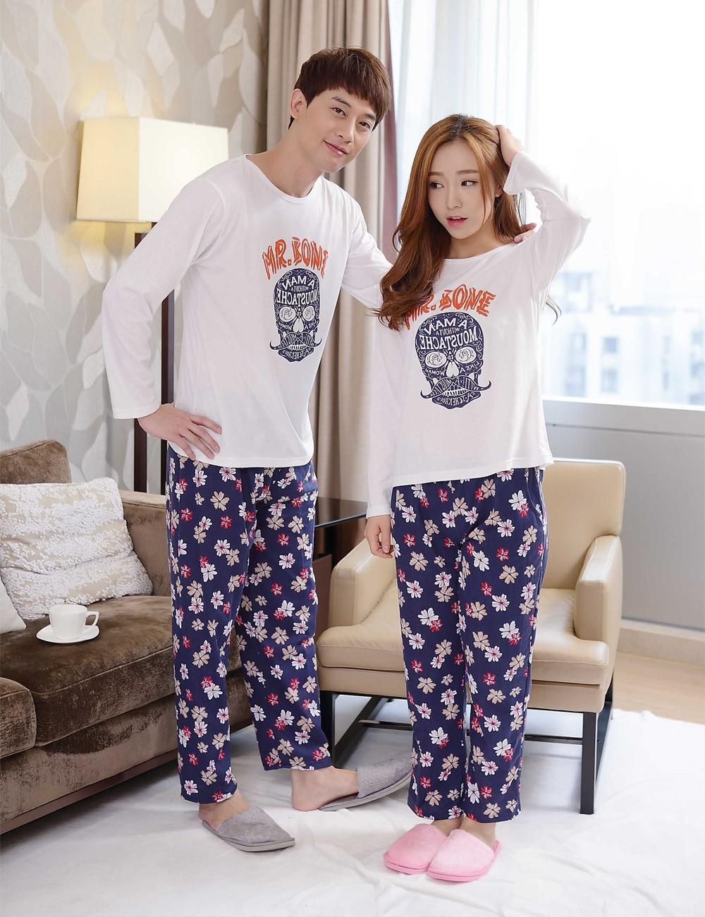 bca78d8f1d Cheep Nightgown Pajamas Blouse+Pants Cotton Skull couple pajama sets ...