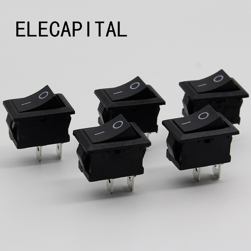 цена на 5Pcs/Lot Black Push Button Mini Switch 6A-10A 110V 250V KCD1 2Pin Snap-in On/Off Rocker Switch 5PCS/Lot 21MM*15MM BLACK