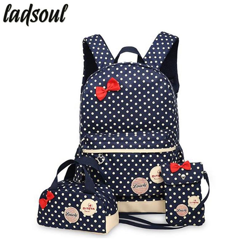 LADSOUL Korean Cute Printing Backpack Women School Backpacks For Teenage Girls Cute Book Bags Vintage Laptop Women Backpacks 001