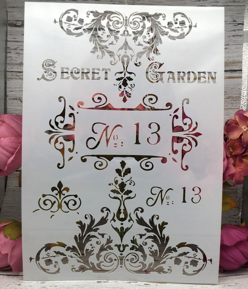 29*21cm Words Vintage Garden DIY Layering Stencils Wall Painting Scrapbook Coloring Embossing Album Decorative Paper Template