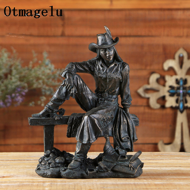 Vintage Resin American Western Cowboy Ornament Figurines Miniatures Person Statues For Home office Background Wedding Decoration