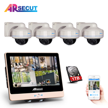 Plug And Play 4CH POE NVR CCTV System+12'LCD Screen&1080P HD Outdoor Vandalproof 30IR NightVison Dome Fixed POE Camera System
