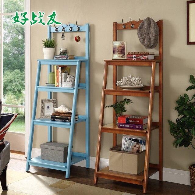 Gute Kolleginnen Amerikanischen Wohnzimmer Regal Regale Holz Regal Mit  Kleiderhaken Vielseitige Multi Lagerung Regal