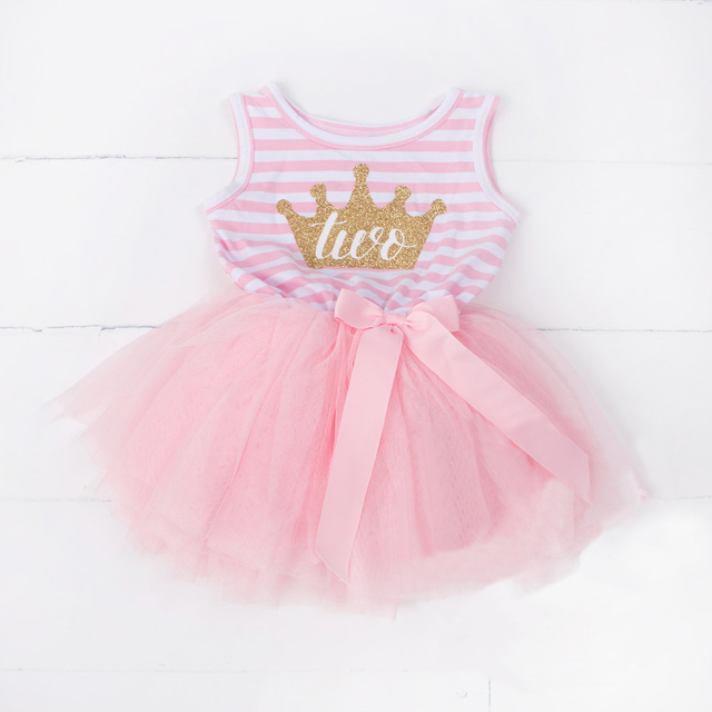 Baby Girl Birthday Dress Kids Tutu vestido infantil for Little Princess 1st  2nd 3rd Party Baptism Pink Dress Outfits Clothing ec0c3d6d9670