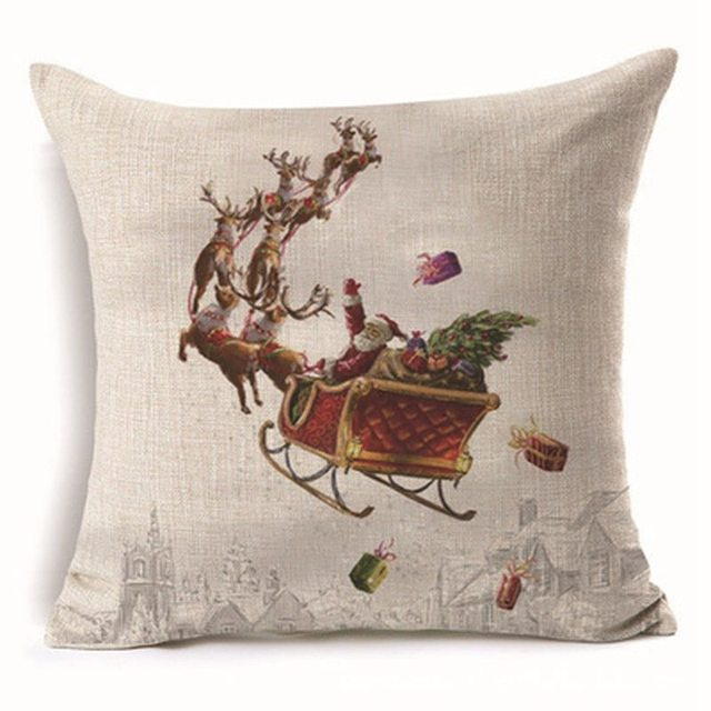 Urijk 1PC Square Merry Christmas Pillow Cover Santa Claus Throw Home Pillowcase Print New Year Party Decorative Pillows
