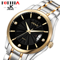 JK FOTINA Top Marca Assista Homens de Aço Inoxidável Reloj Luminosa Horas Relógio Casual Quartz Dress Watch Auto Data relógio de Pulso De Ouro
