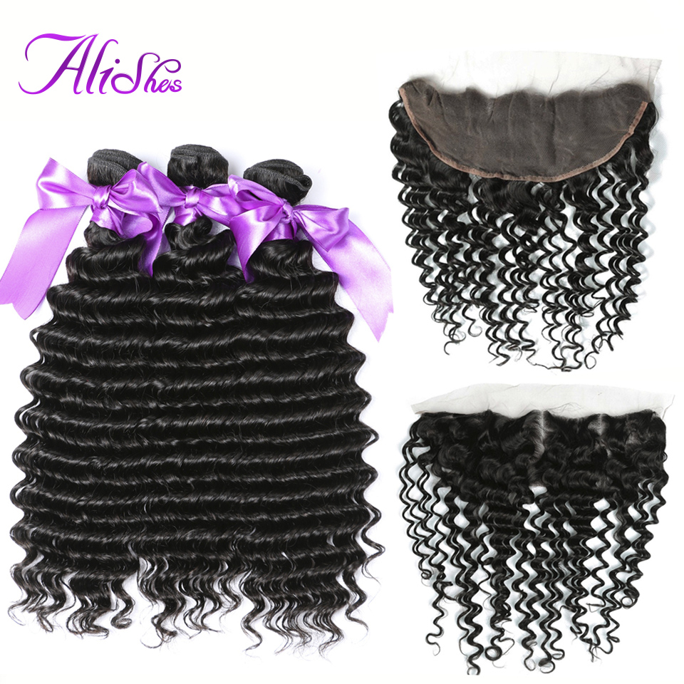 Alishes Deep Wave Human Hair Bundles With Frontal Closure Natural Color Remy Hair Frontal With Brazilian Hair Weave Bundles