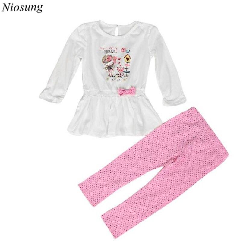 Niosung/1 компл. детские детская одежда для девочек Футболка с принтом топы с длинными рукавами + Брюки для девочек наряды детская одежда Малень...