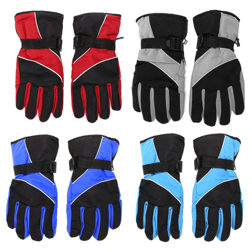 1 Pair Waterproof Skiing Gloves Adjustable Winter Warm Thermal Cycling Gloves Snowboarding Sledging Outdoor Sports Mittens