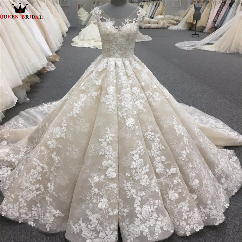 Luxury Wedding Dresses Ball Gown Big Train Lace Tulle Long