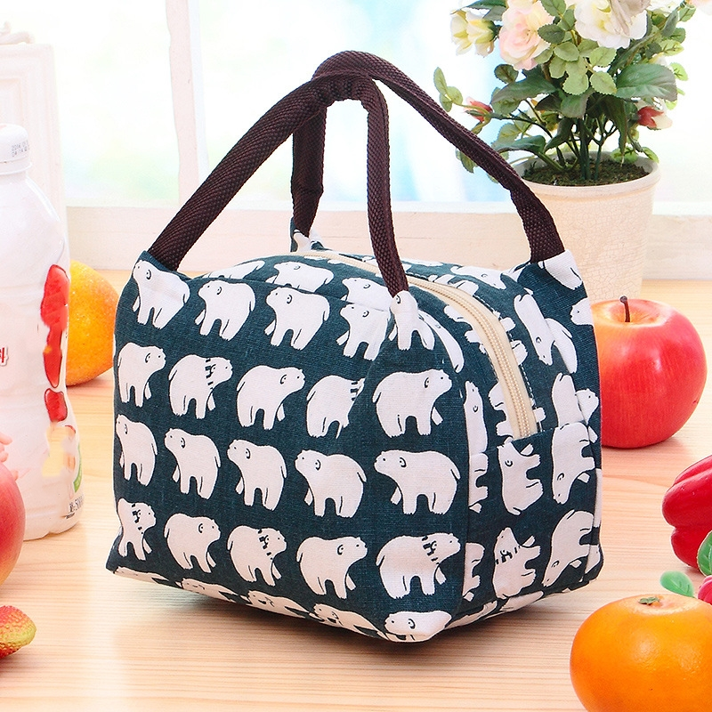 High quality Fashion Canvas insulated Cooler Lunch Box Bag Tote Portable Picnic Bag lunch bag thermal For Women Kid Men Girl