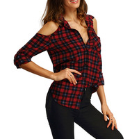 Vintage Red Plaid Check Blouse Sexy Off Shoulder European Autumn 2016 Long Sleeve Shirt Plus Size