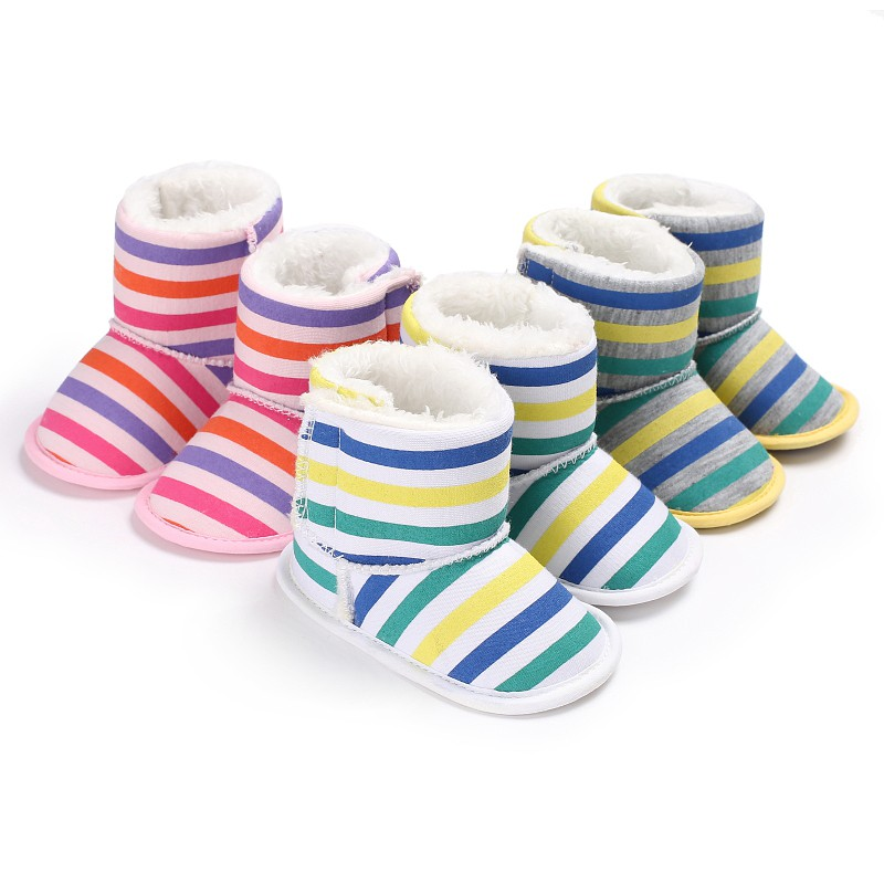 Winter Warm Newborn Baby Shoes Comfortable Crib Bebe Infant Toddler First Walkers Striped Pattern Snowfield Snow Boots Booty