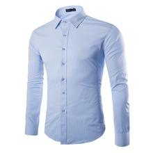 2018 Long Sleeve Slim Fit Male Lapel Shirt Multi Color Mens Comfy Blouse Casual Business Dress Shirts Button-front Tops M-5XL