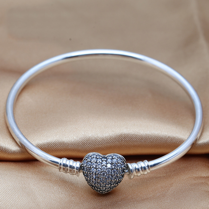 Authentic 925 Sterling Silver Bracelet Bangle for Women Moments Pave Love Heart Clasp Crystal Beads fit Pandora DIY Jewelry newest crystal jewelry heart love pendant watch steel alloy chain bracelet bangle quartz wristwatch for fashion women silver