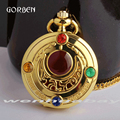 Luxury Gold Sailor Moon Anime Pocket Watch Necklace with chain Fashion Relogio De Bolso with Pendant Quartz Womens Watches