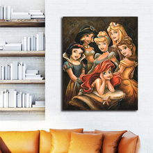 Cartoon Princess Gathering By Darren Wilson Canvas Painting Print Bedroom Home Decor Modern Wall Art Oil Poster Picture