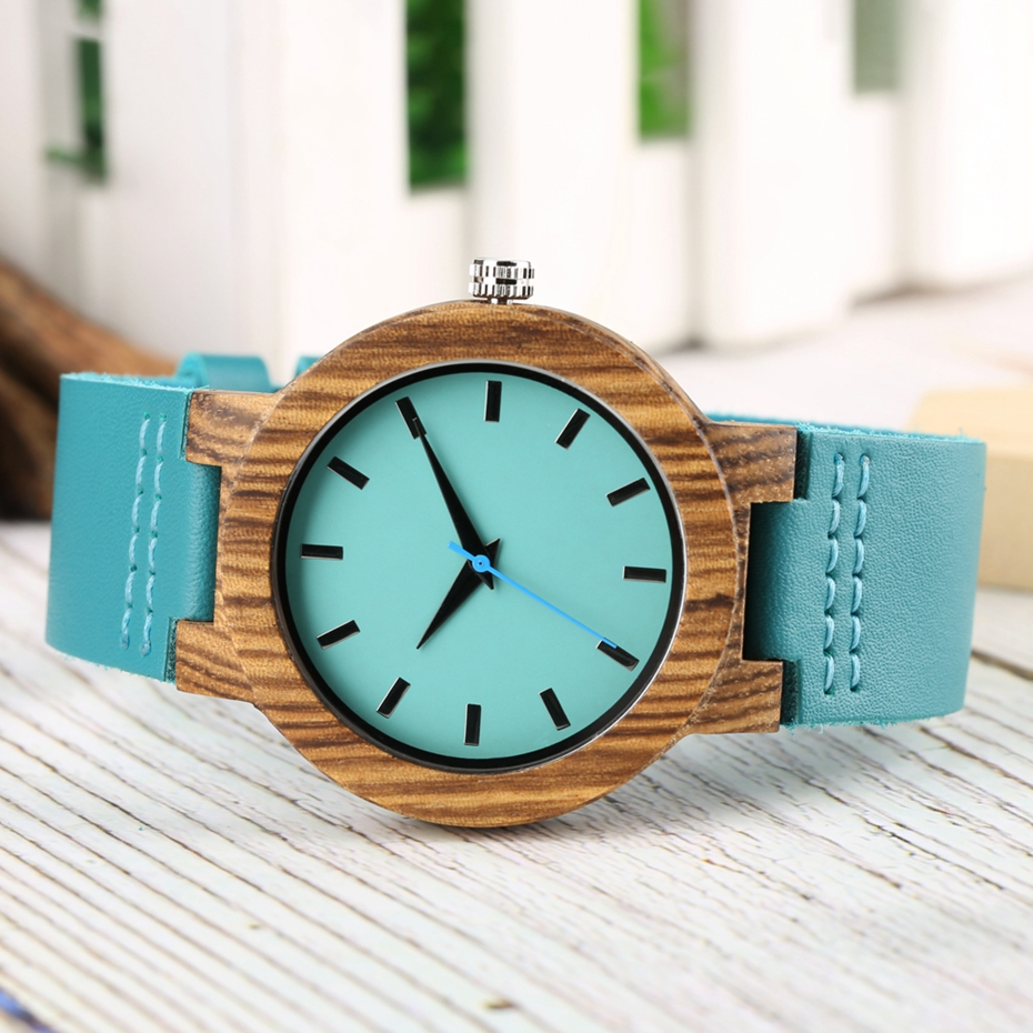 DIY Customized Logo Wood Watch Women Creative Engraved Retro Wooden with Blue Genuine Leather Souvenir Gifts for Girl Girlfriend 2019 2020 2022 (5)