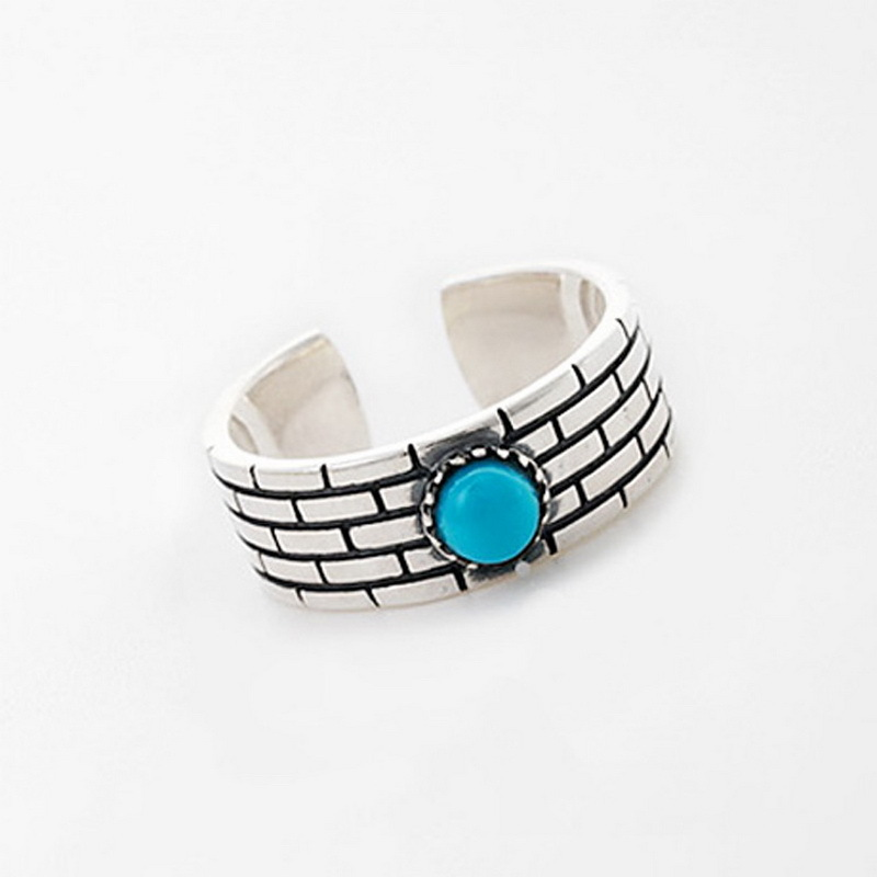 S925 Pure Silver City Wall Blue Beads Spit Intime Opening Ring
