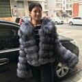 2017 BFFUR Fox Fur Coat Fashion Silver Fox Genuina de la Piel Real Real Abrigos de Piel Para Mujer Ropa de Invierno Raya Delgada Capa 103137