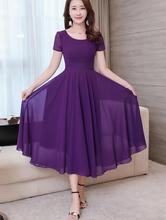 Free Shipping High Quality  2018 New Arrival Plus Size S-XXXL  Elegant Round Collar Short  Sleeve  Woman  Chiffon Long Dress 2018 limited real princess s new woman s dress ribbon chiffon bohemia long skirt and seaside resort