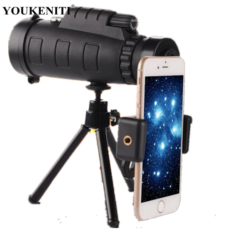 Outdoor Monocular Telescope Hunting Glimmer Night Vision Camping Fishing Equipment With Compass Phone Clip Tripod Traveling Tool