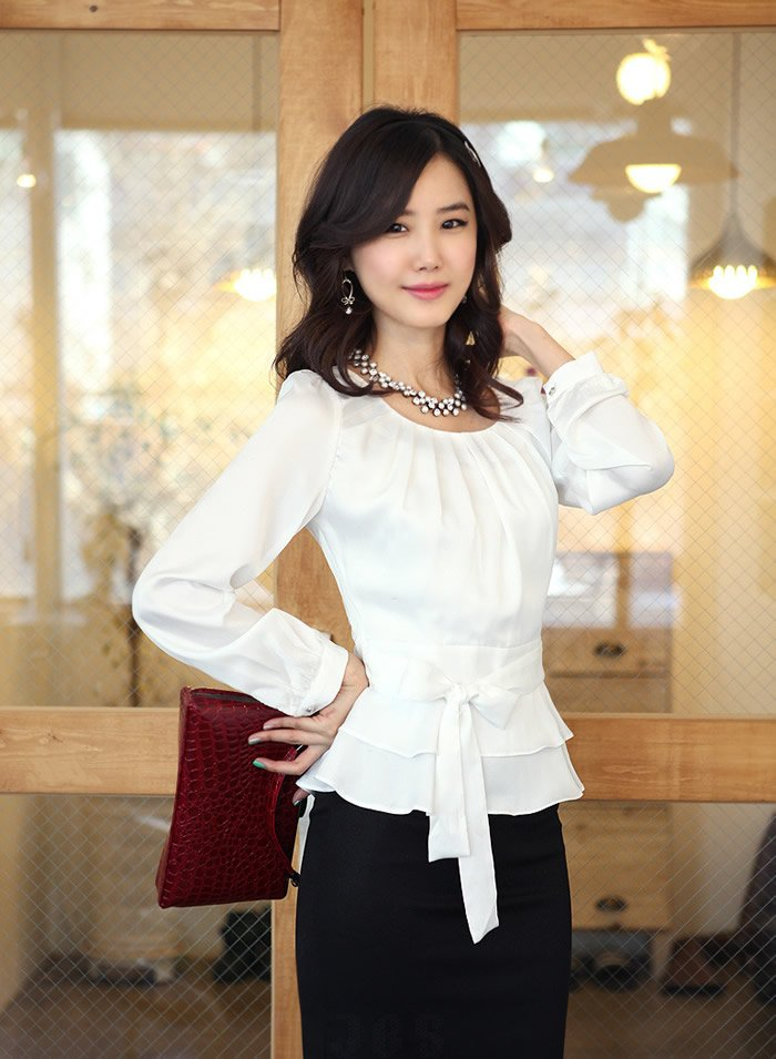New Fashion Women Long Sleeve Blouses Summer Spring Autumn Dress