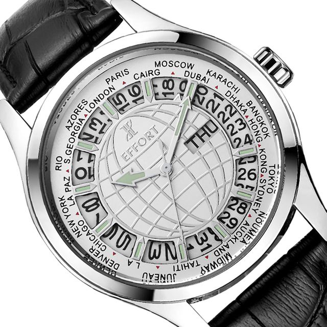 Effort Brand Luxury World Map Business Whatch Men Sport Hours Waterproof Round Leather Strap Men's Wrist Watch with Calendar