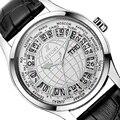 Esforço Mapa Do Mundo de Negócios Marca de Luxo Whatch Homens Horas de Esporte Dos Homens da Correia de Couro À Prova D' Água Rodada Relógio de Pulso com Calendário
