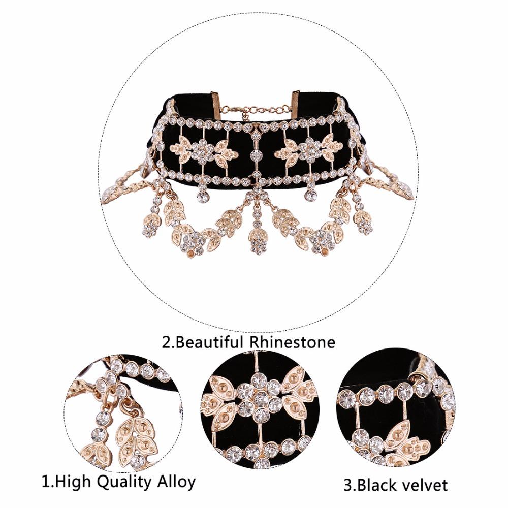 Crystal Rhinestone Velvet Statement Choker Necklace Jewelry