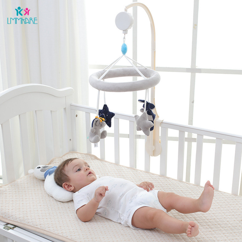 Newborn Baby Bed Bell Pacifying Toy Plush Grey Elephant Rabbit Star Music Bed Bell Children Kid Room Decoration Baby Bedding Set