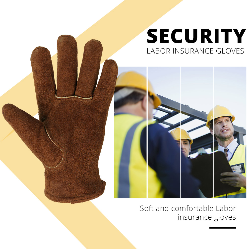 Image 2 - OZERO Men's Work Driver Gloves Cowhide Winter Warm Cashmere Windproof Security Protection Wear Safety Working Woman Gloves 2008-in Safety Gloves from Security & Protection
