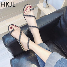 HKJL Fashion Sandals for women 2019 new summer fashion all-in-one rhinestone-serpentine strappy sandals A088
