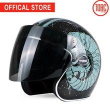 TORC carbon fiber motorcycle helmet FLIP UP VISOR motorbike motocross jet retro capacete inner visor moto ECE недорого