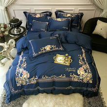 New Luxury 80S Egyptian Cotton Gold Royal Embroidery Bedding Set Blue Queen King Size Duvet Cover Bed sheet Linen Pillowcase